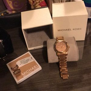MK Rose Gold Watch with tag and band extension